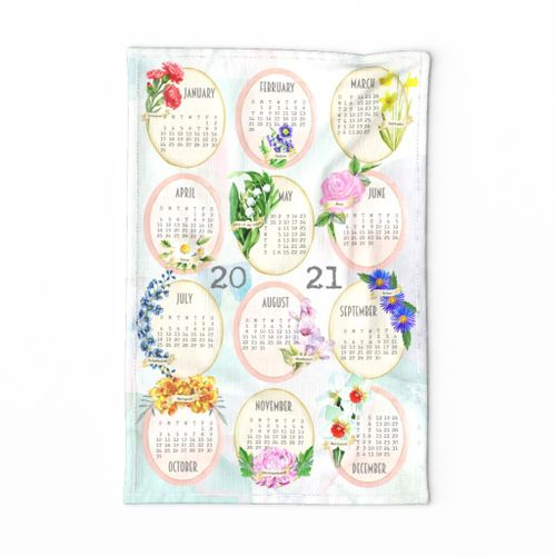 Birth Month Flowers 2021 Tea Towel Calendar 1