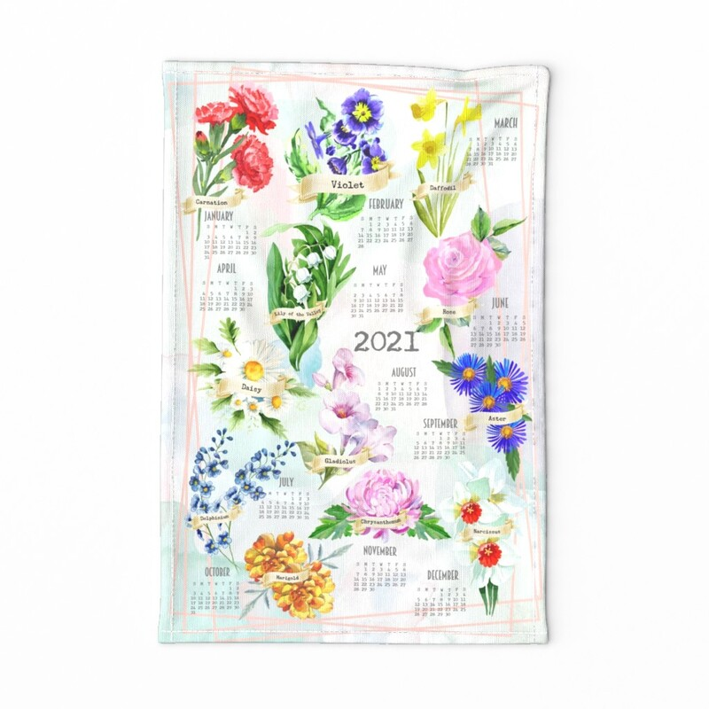 Birth Month Flowers 2021 Tea Towel Calendar 2