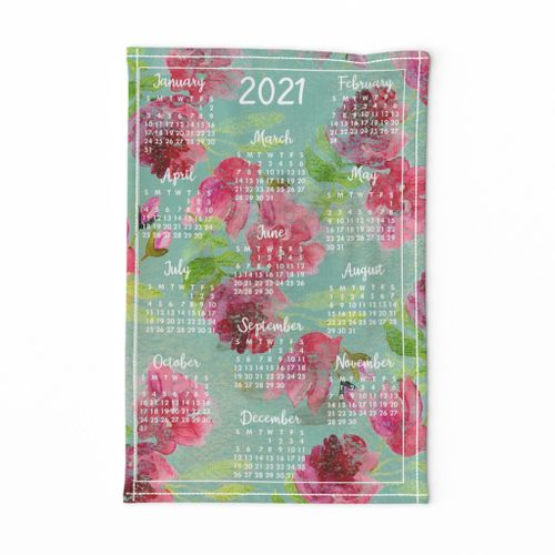 2021 Floral Tea Towel Calendar